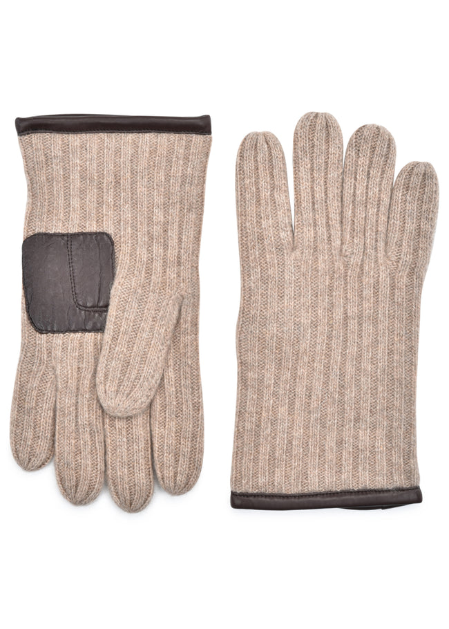 mens oatmeal cashmere blend wrist length ribbed glove