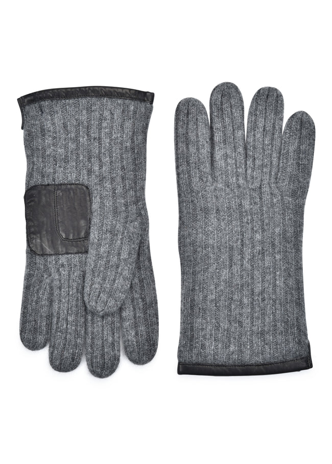 mens heather gray cashmere blend wrist length ribbed glove
