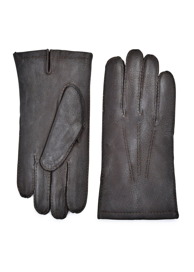 mens brown deerskin fur lined wrist length glove