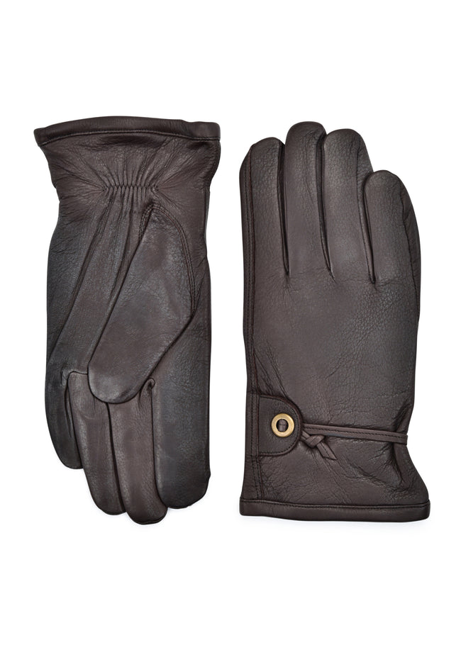 mens brown deerskin cashmere blend lined wrist length glove