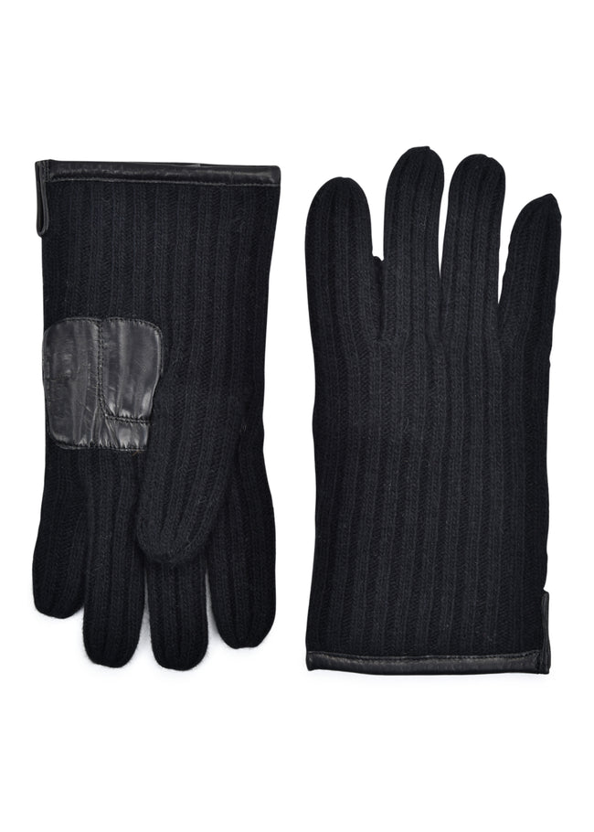 mens black cashmere blend wrist length ribbed glove
