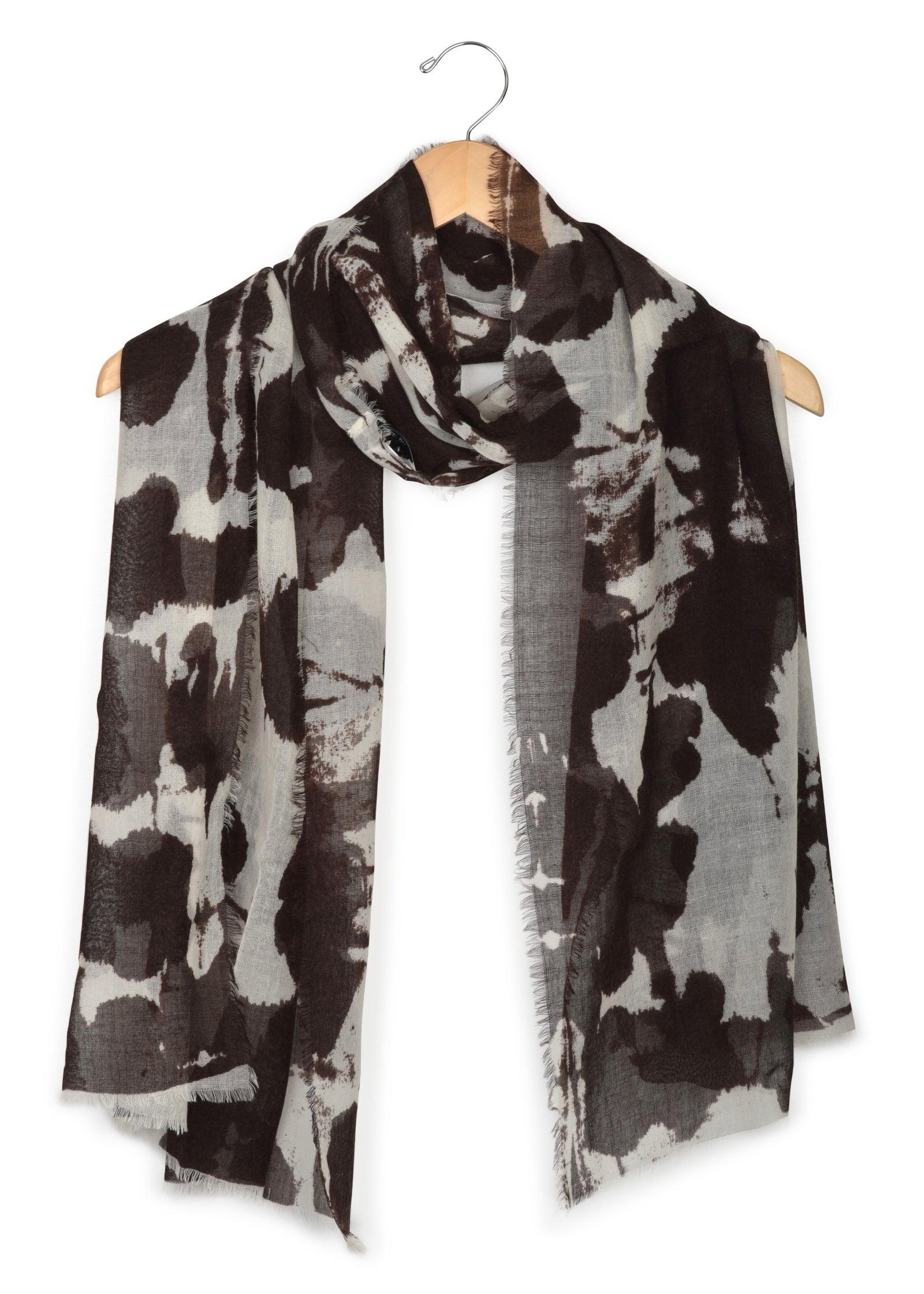 womens brown wool silk blend scarf wrap