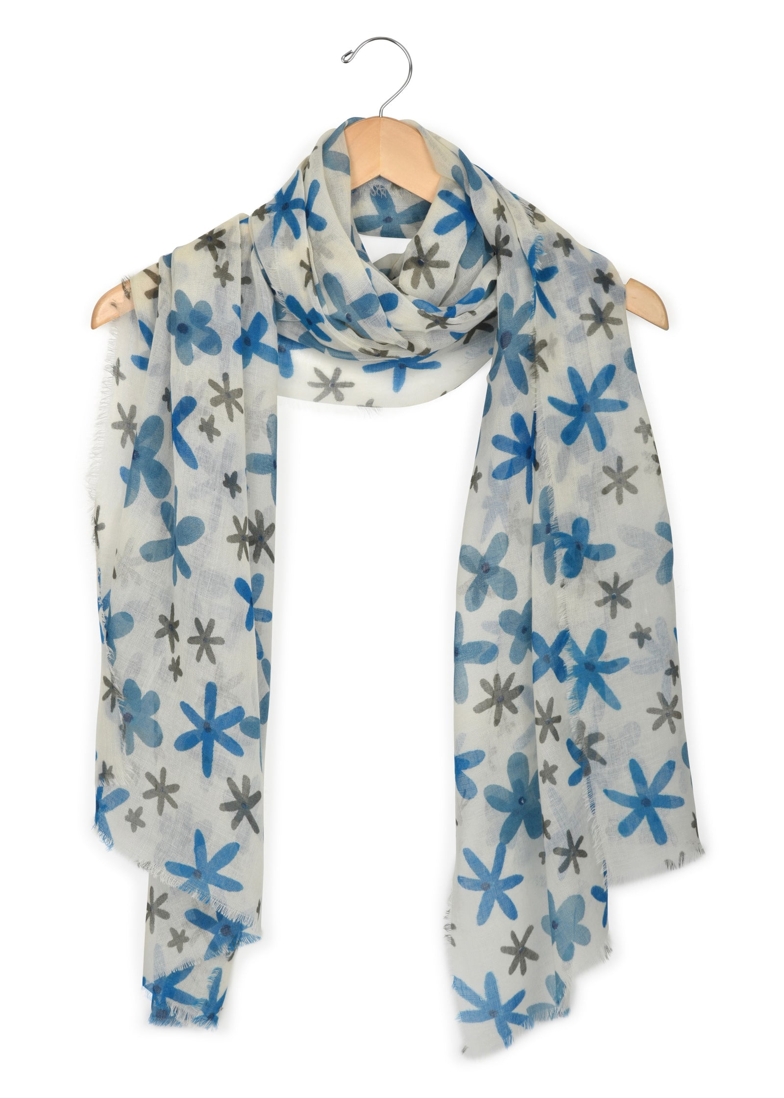 womens blue wool & silk blend scarf wrap