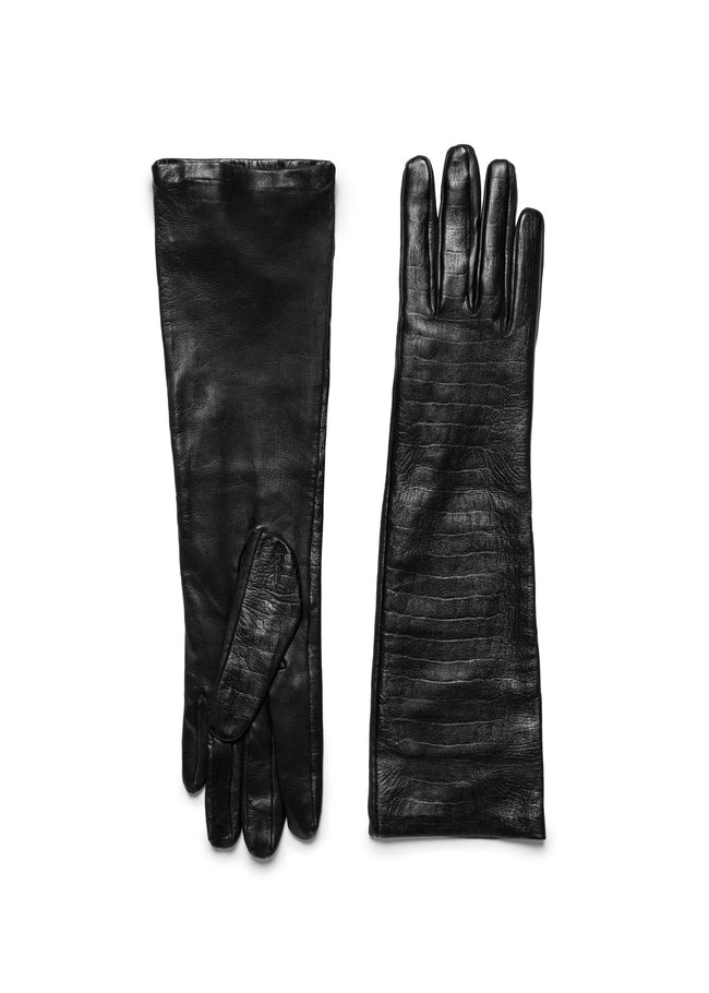 womens black croco embossed lambskin silk lined elbow length glove made in Italy