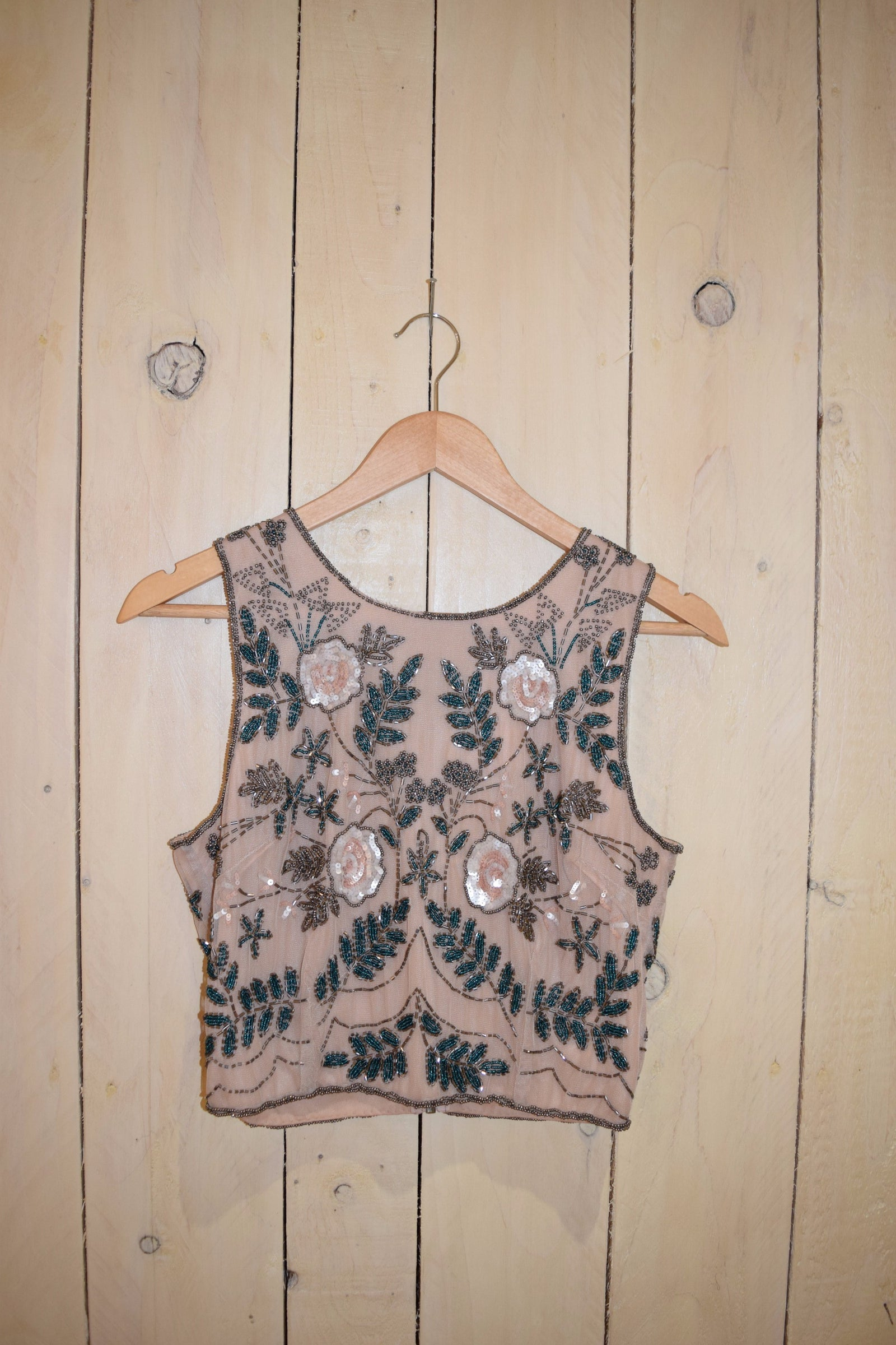 Floral Leaf Embellish Top Taupe - With Love Omagh