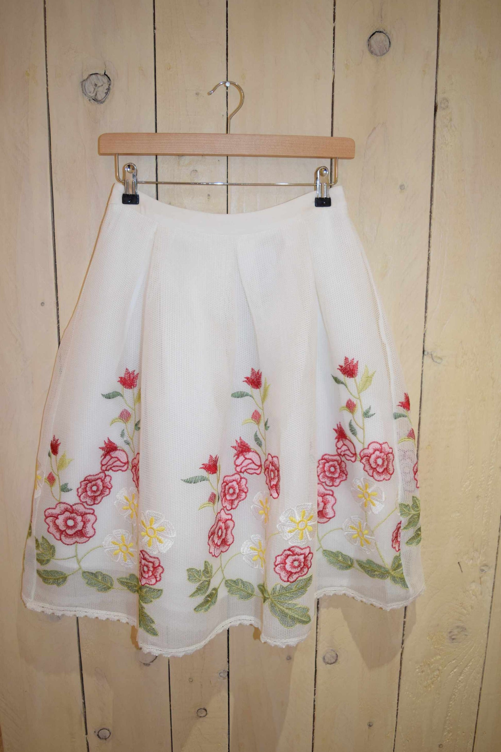 Embroidered Floral Mesh Full Skirt - With Love Omagh