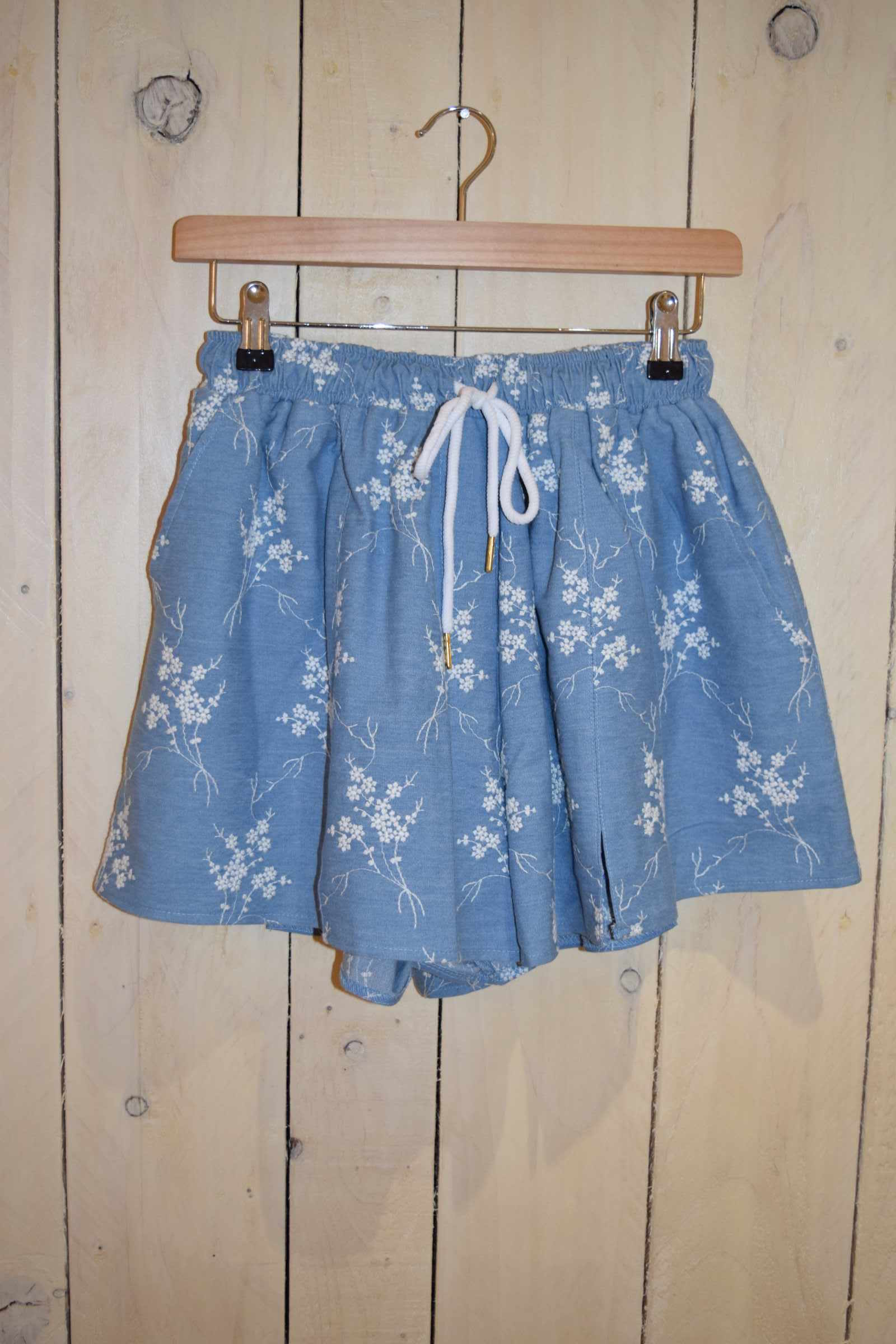 Denim Ditsy Floral Shorts - With Love Omagh