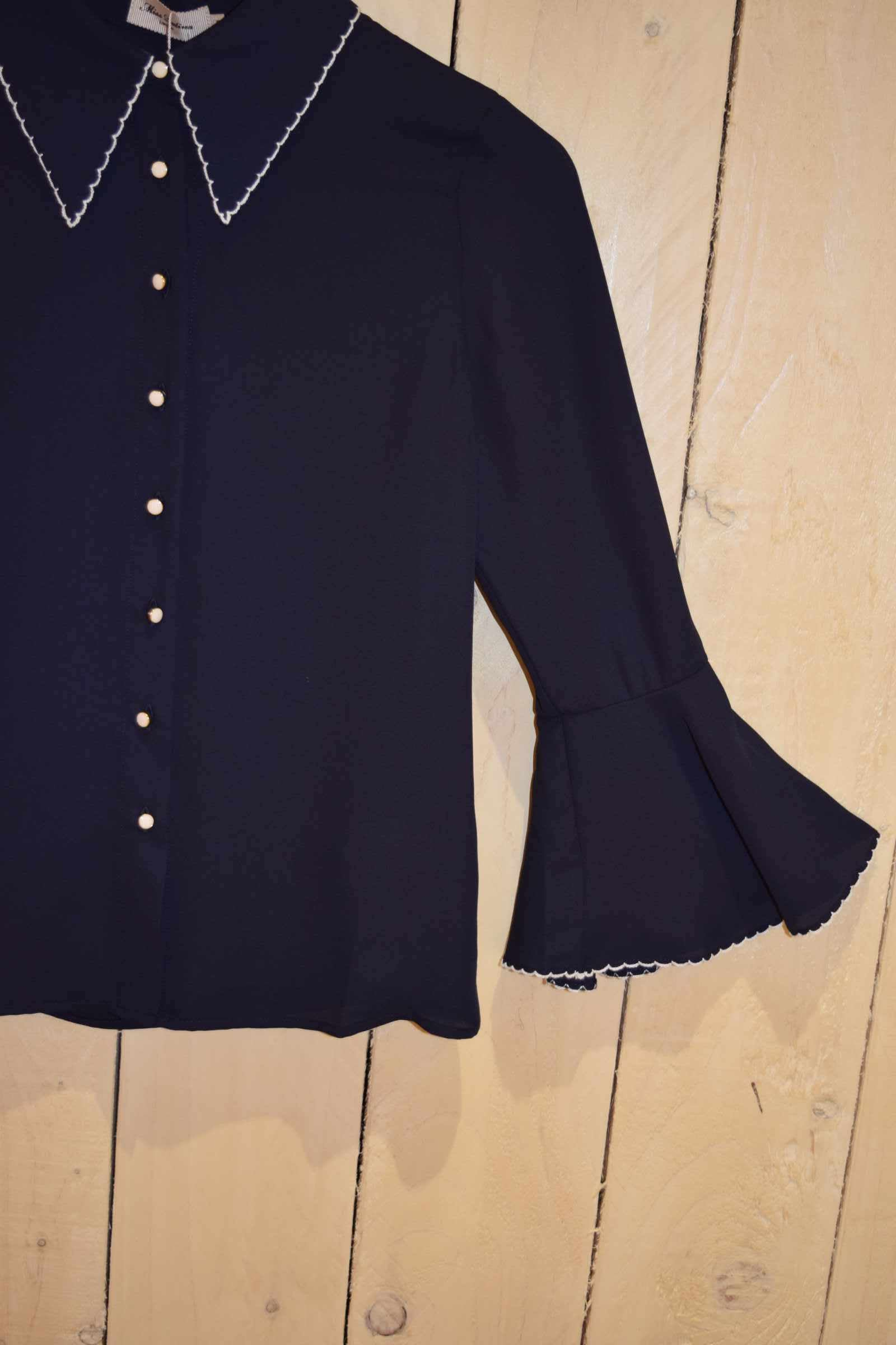 Fitted Flute Sleeve Blouse Navy - With Love Omagh