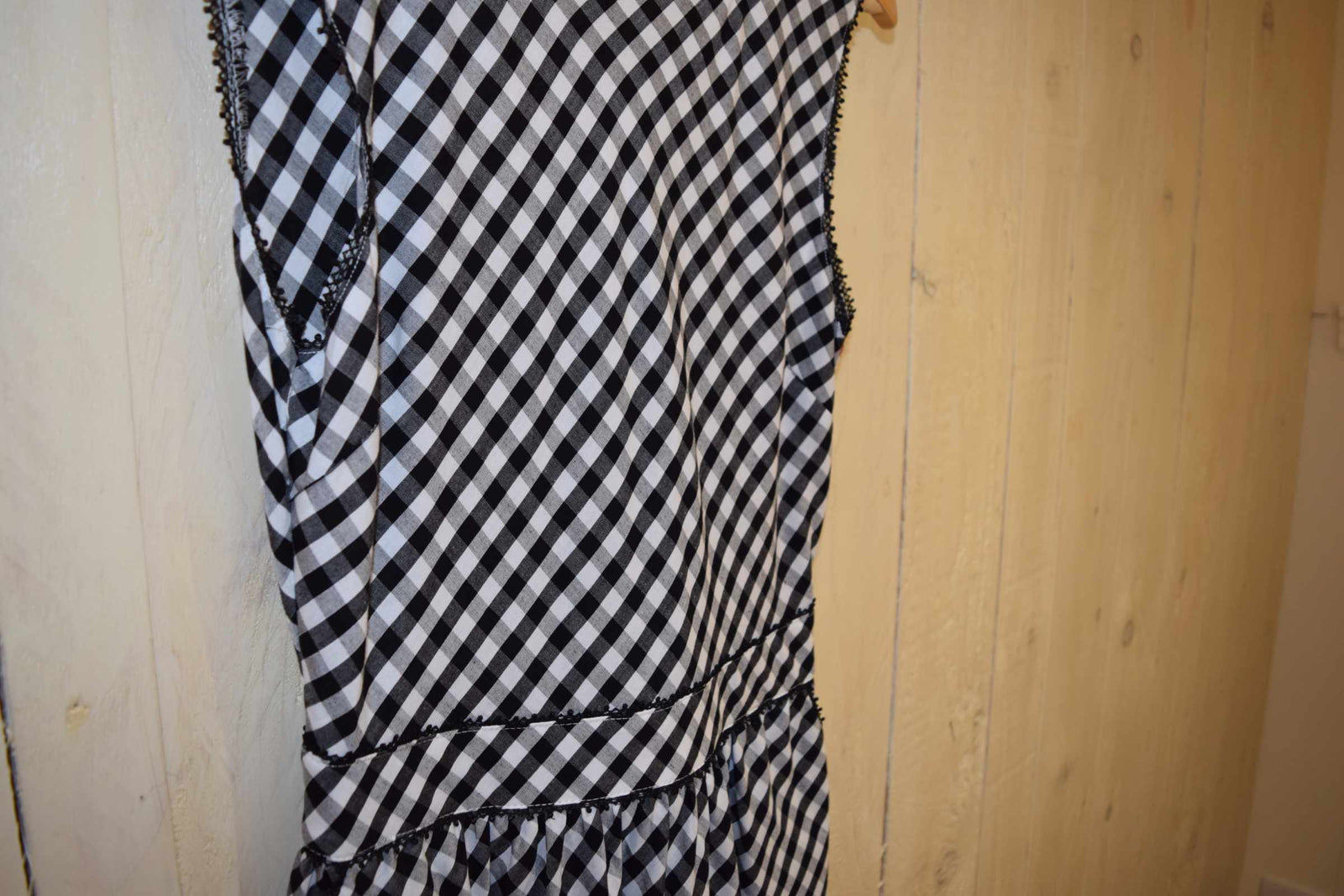 Gingham Tie Back Sun Dress Black - With Love Omagh