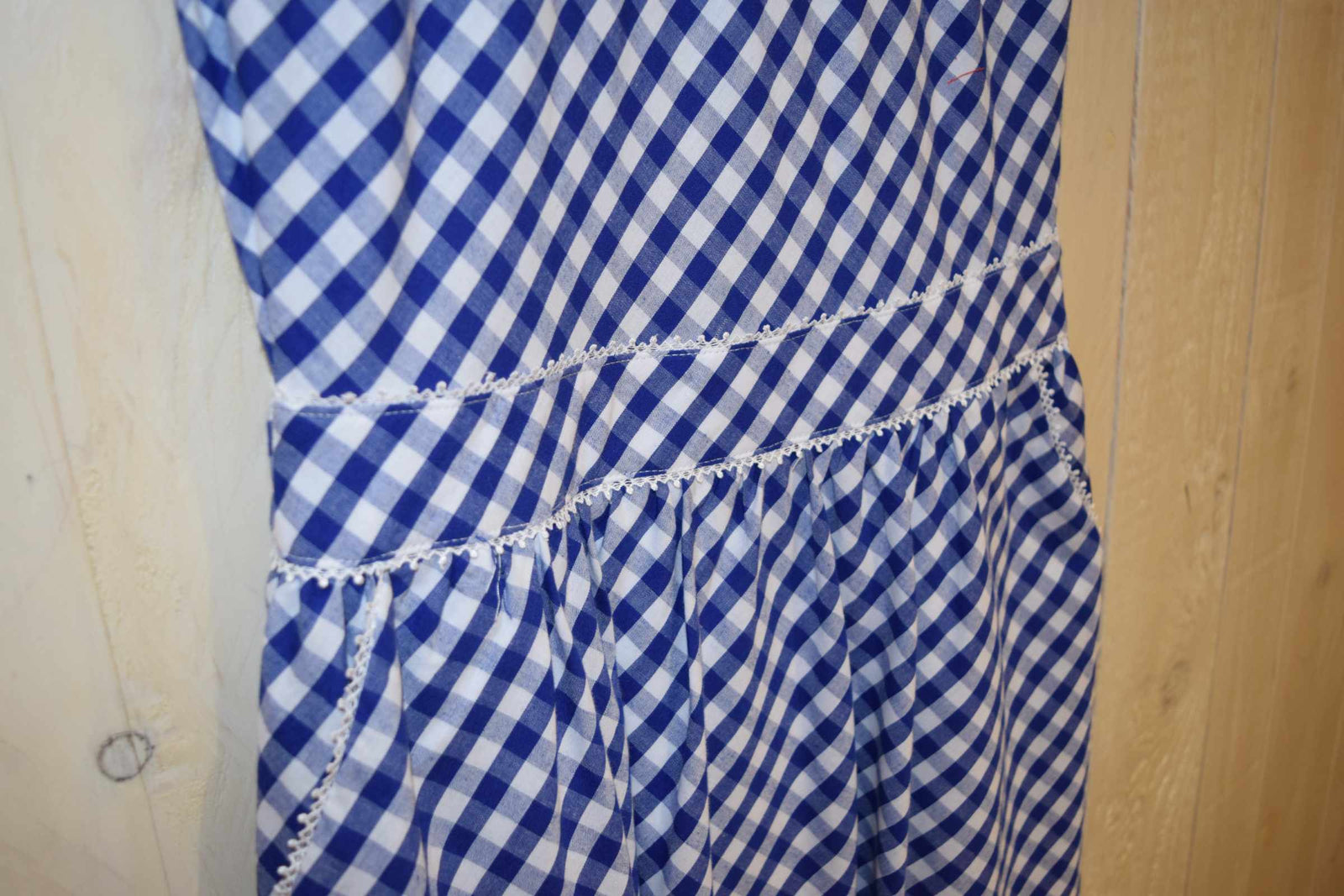 Gingham Tie Back Sun Dress Blue - With Love Omagh