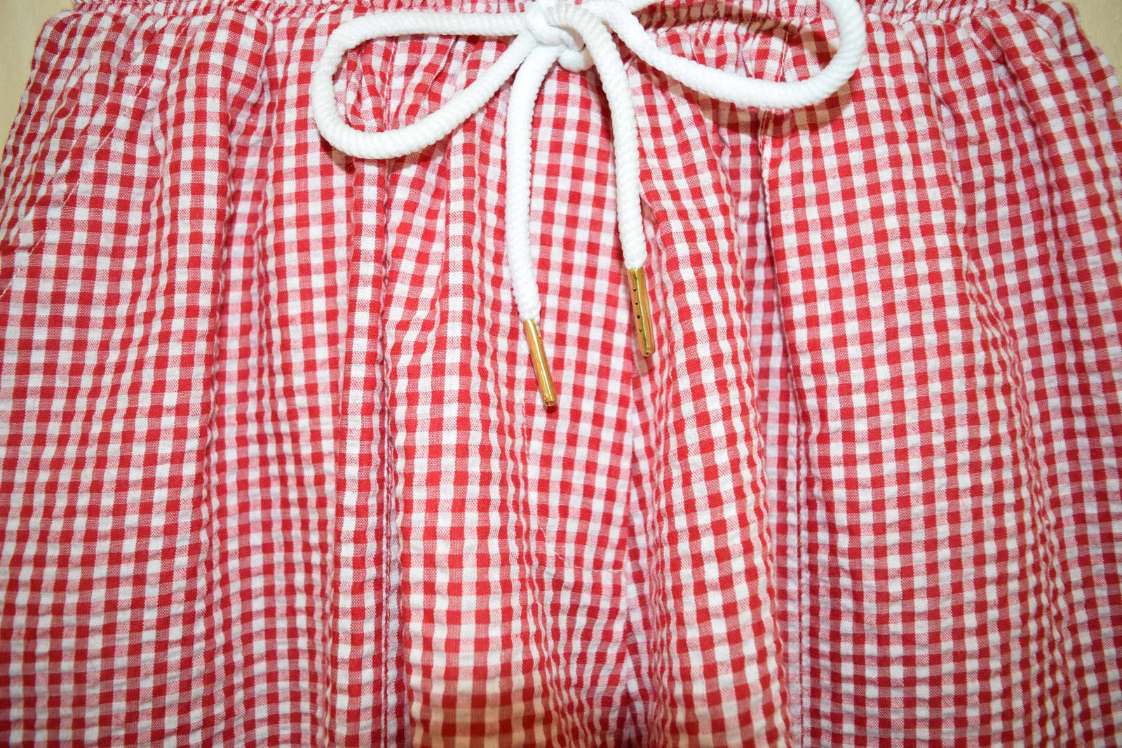 Gingham Tie Shorts Red - With Love Omagh