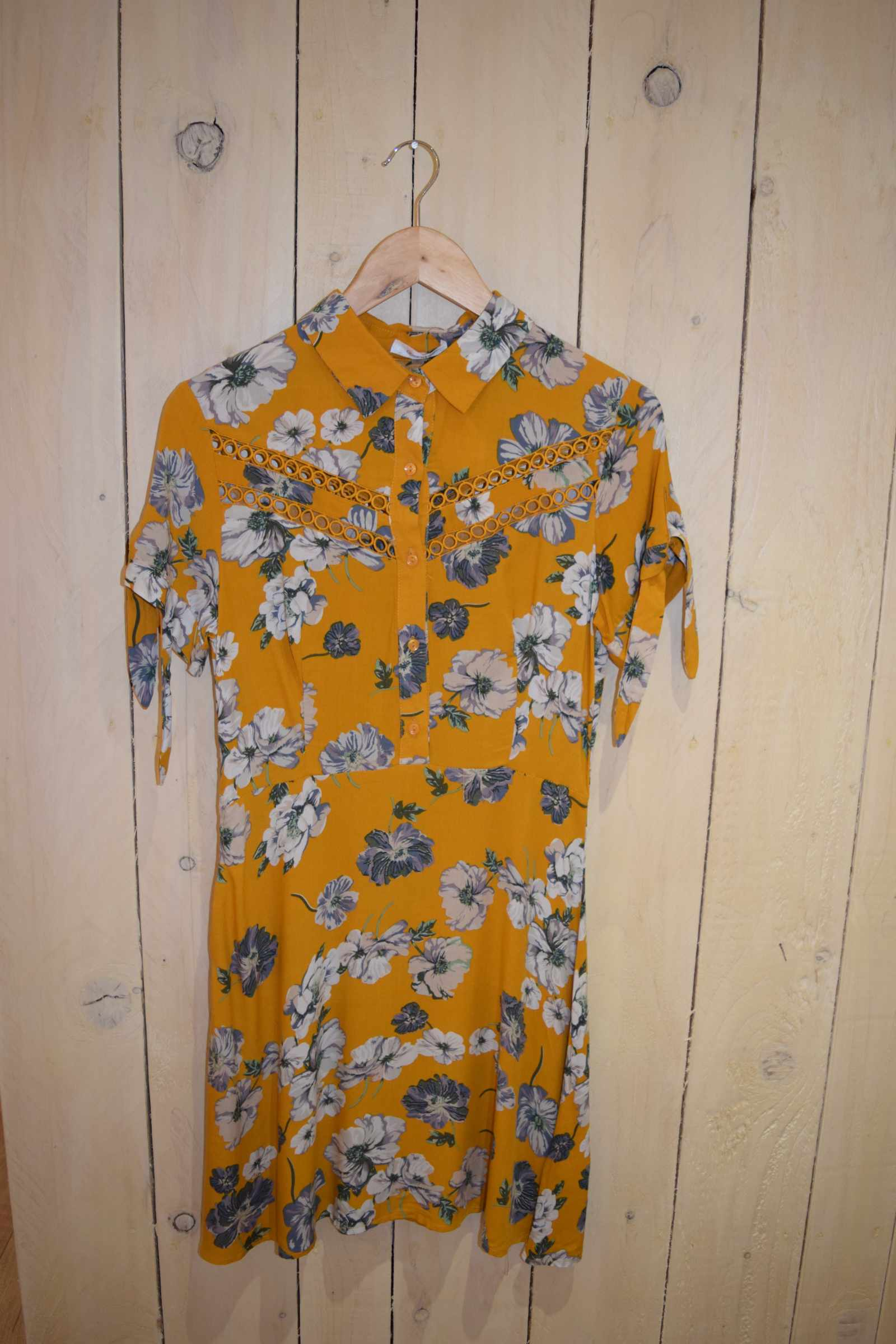 Tropical Floral Tea Dress Mustard - With Love Omagh