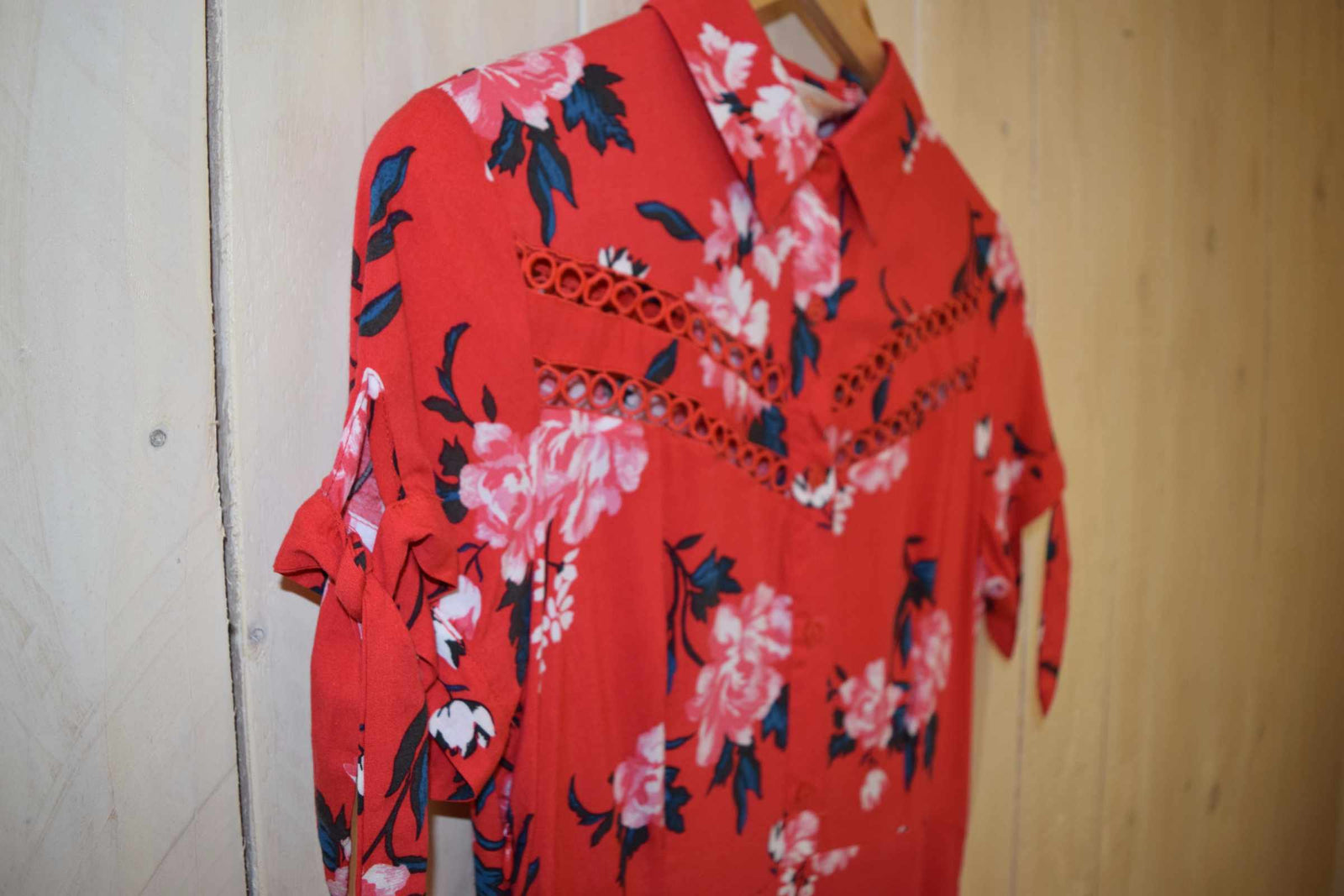 Tropical Floral Tea Dress Red - With Love Omagh