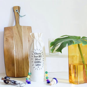 CHEERS COTTON WINE BAG - left-handesign