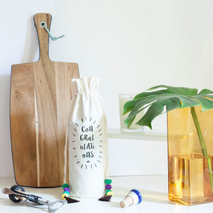 CONGRATS COTTON WINE BAG - left-handesign