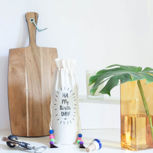 HAPPY BIRTHDAY COTTON WINE BAG - left-handesign