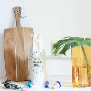 LET'S MAKE A TOAST COTTON WINE BAG - left-handesign