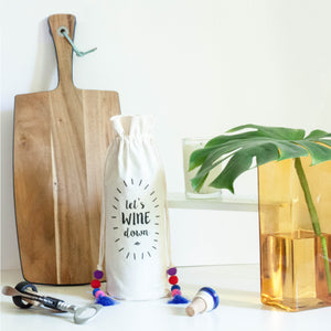 LET'S WINE DOWN COTTON WINE BAG - left-handesign