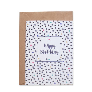 PARTY DOTS GREETING CARD - left-handesign
