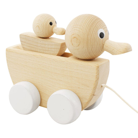 Wooden pull along duck with duckling - White
