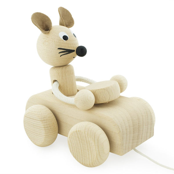 Wooden pull along mouse - Albert