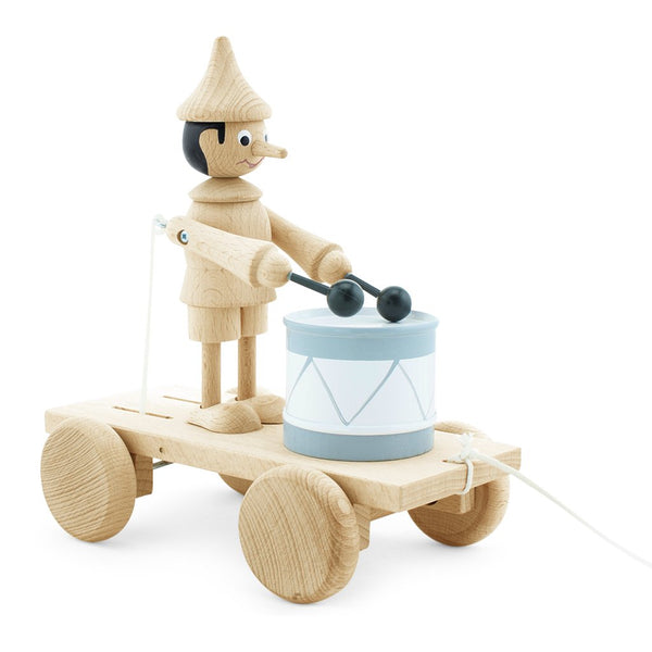 Wooden Pull Along Pinocchio playing drum