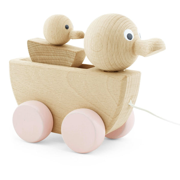 Wooden Pull along duck with duckling - Pink