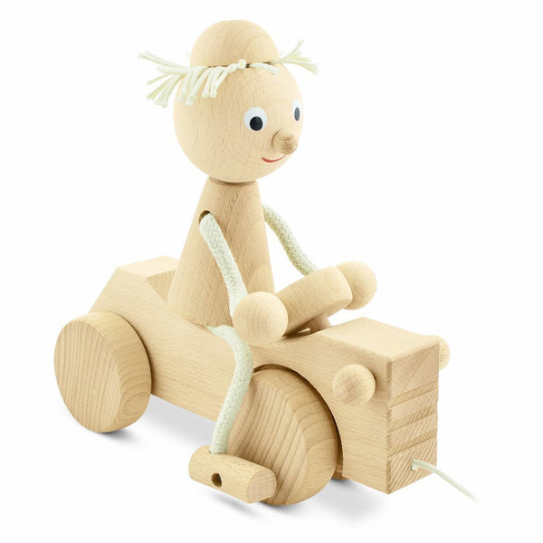Wooden pull along boy on tractor - Ernest