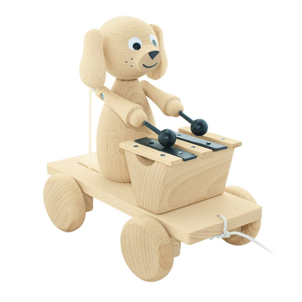 Wooden Pull Along Dog w Xylophone - Margot