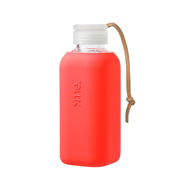 Squireme Glass drink bottle - Coral 600ml