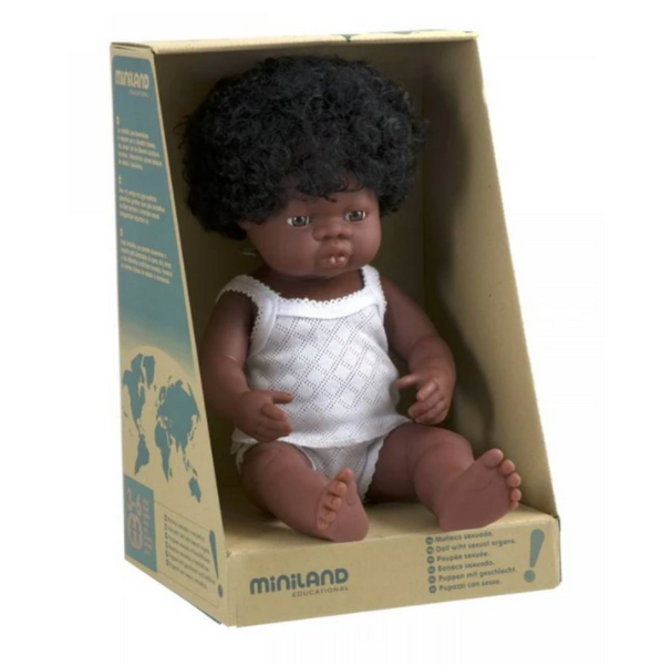 Miniland Anatomically correct baby doll 38cm - African