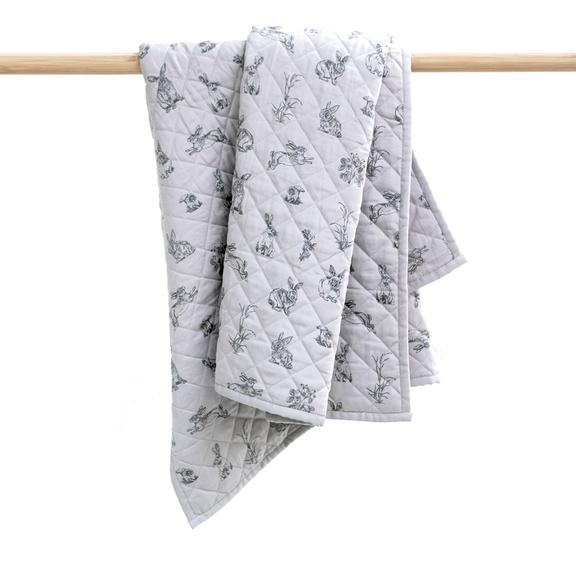 Grey Burrowers Cot Quilt / Play mat 110 x120cm