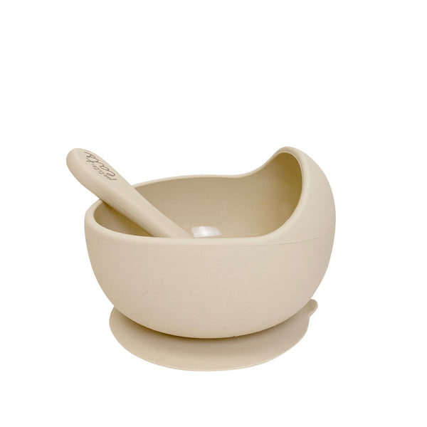 Petite Eats Silicone bowl + Spoon - Sand