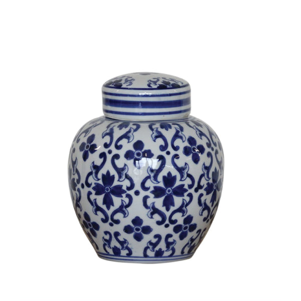 Mediam Ginger Jar - Blue + White