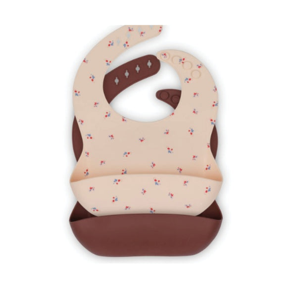 Konges 2 pack Silicone baby bibs - Bloom / Bordeaux