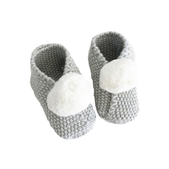 Baby pompom slippers - Grey (3-6m)