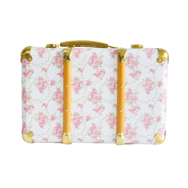 Mini Suitcase - Floral wreath /  White