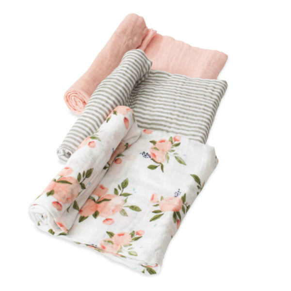 Cotton Muslin Swaddles (3 pack) Watercolour Roses