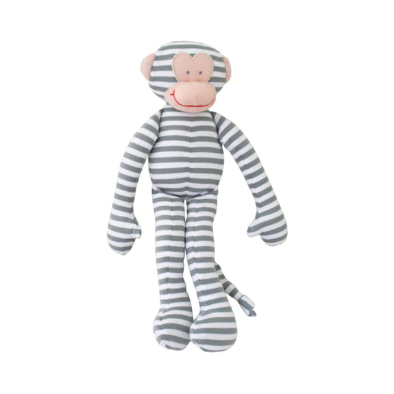 Monkey Toy Rattle - Stripe Grey
