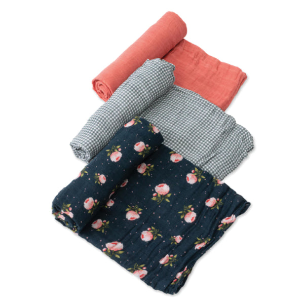 Cotton Muslin Swaddles (3 pack) Midnight Roses