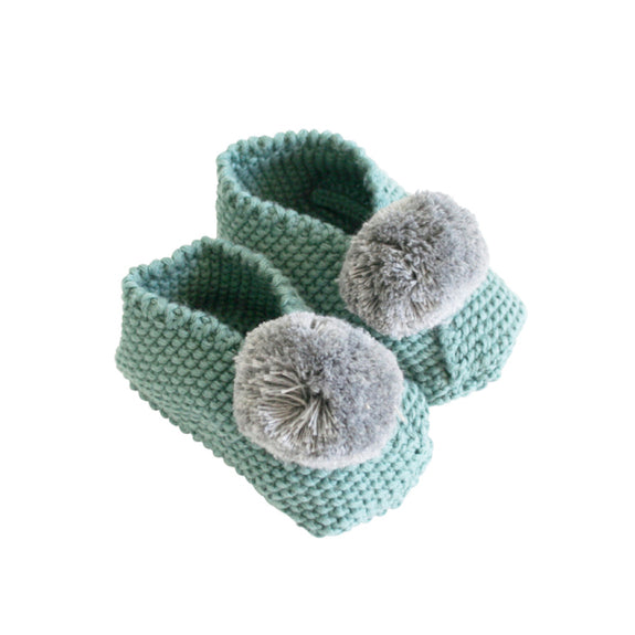 Baby Pompom Slipper - Sage & Grey (3-6m)