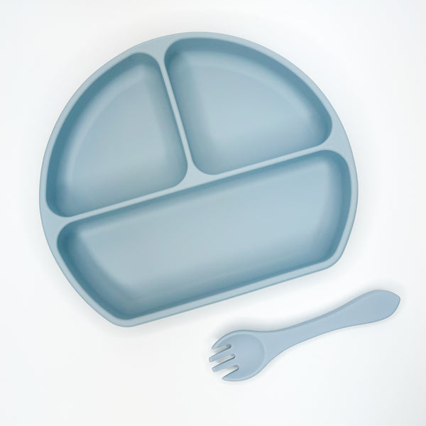 Plate + Lid + Folk Combo  - Dusty Blue