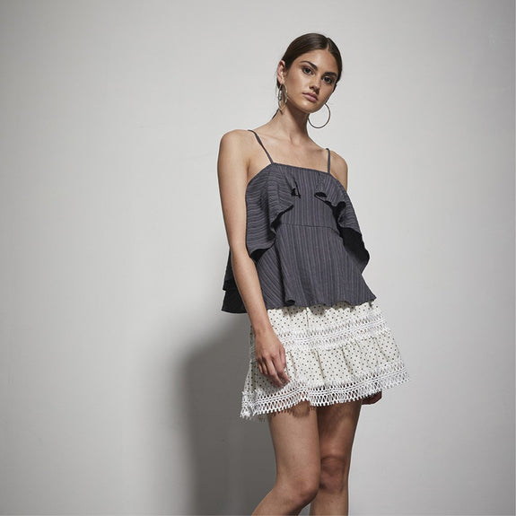 Exotic ruffle cami  charcoal