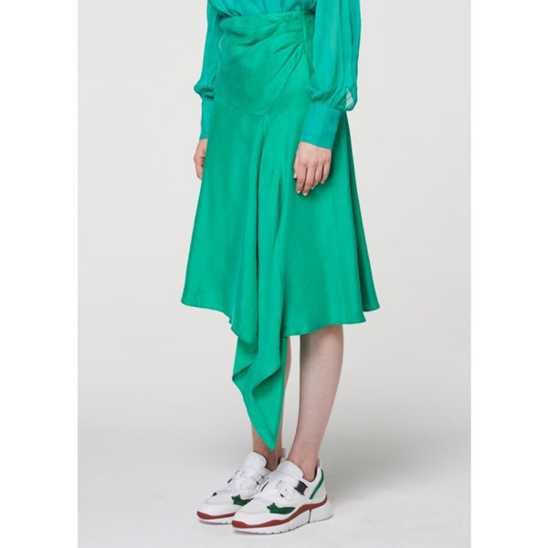 Berkeley Drape midi skirt - Emerald