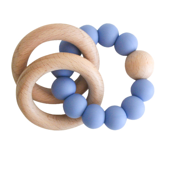Beechwood Teether Ring Set - Blue
