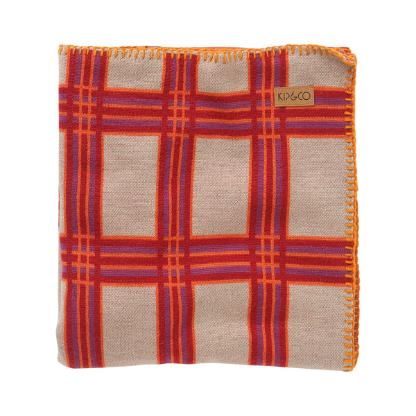 Tartan boysenberry wool baby blanket