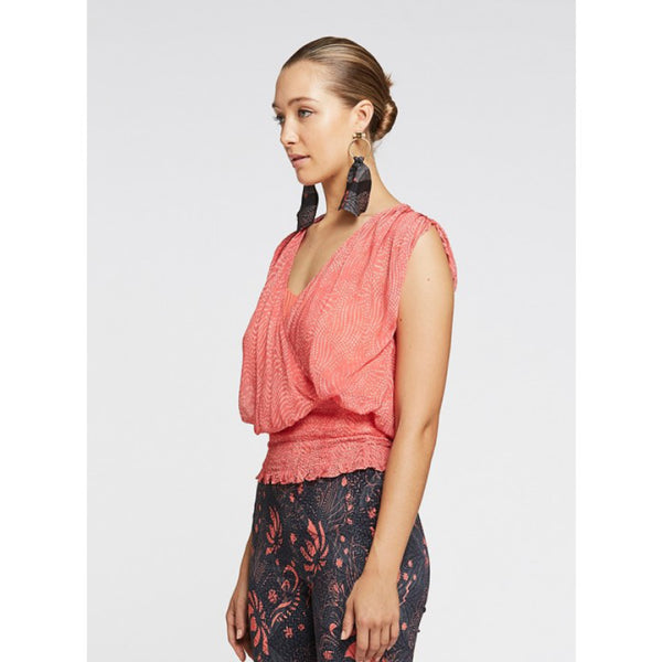 Legend Shirred waist top - Coral Spray