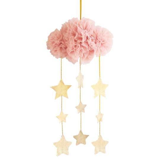 Tulle cloud mobile - blush + Gold