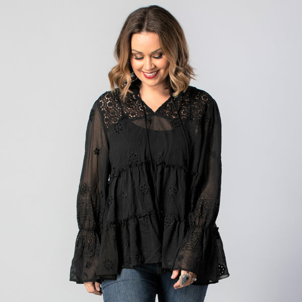 Daisy Blouse - Black Embroidery
