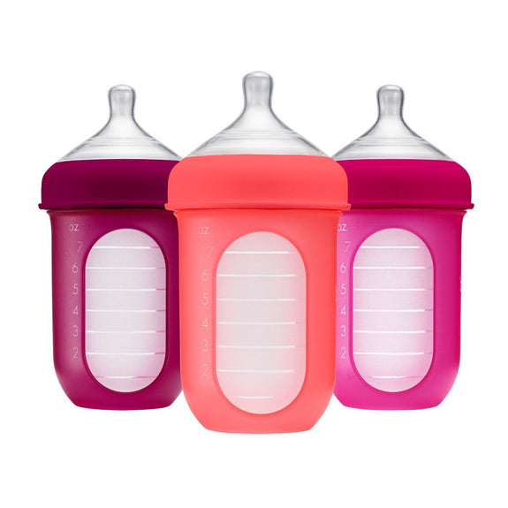 Nursh (3 pack) Silicone pouch bottles / 8oz / Pink